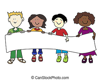 Ethnic diversity kids and banner - Multicultural cartoon...