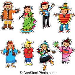 ethnic diversity - kids in different traditional costumes
