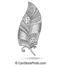 Ethnic doodle feather on white background.
