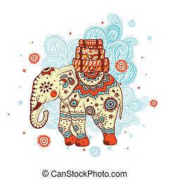 Ethnic elephant on the ornamental background