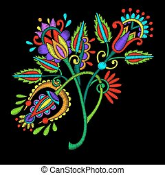 ethnic embroidery flower design on black background