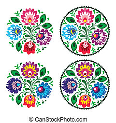 Ethnic embroidery with flowers - Polish folk decoration ...