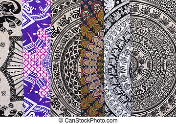 ethnic fabric for sale in a spanish market