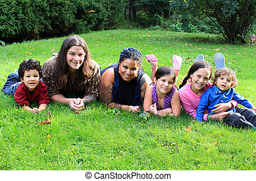 Ethnic family - Mixed race beautiful ethnic family with...