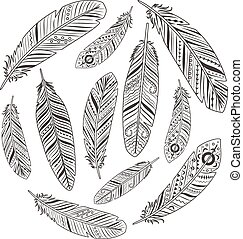 Ethnic hand drawn retro feather silhouettes circle sign