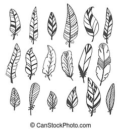 Ethnic feather vector set. Hand drawn collection