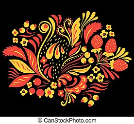 Ethnic floral ornament with leaves, flowers, berries