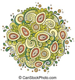 Ethnic floral retro doodle background Pattern With Egg Shape. Abstract Happy Easter Doodle.
