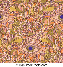 Ethnic floral seamless pattern with mystery eyes