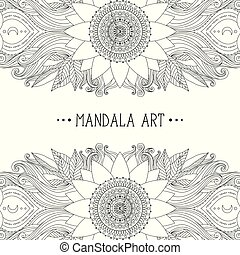 Ethnic flower ornament - Hand drawn wavy and flower...