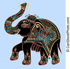 folk art indian elephant, vector dot painting illustration