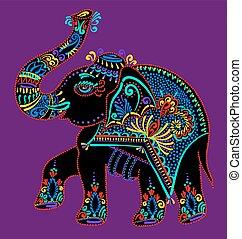 folk art indian elephant, vector dot painting illustration -...