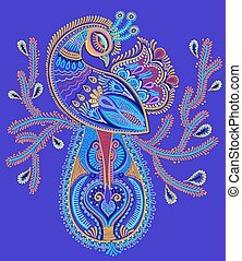 ethnic folk art of peacock bird with flowering branch design,