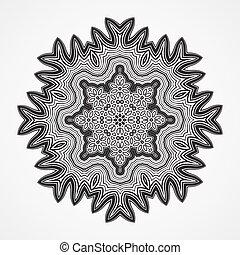 Ethnic Fractal Mandala. Vector Circle Meditation Tattoo