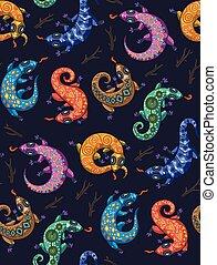 Ethnic geckos seamless pattern