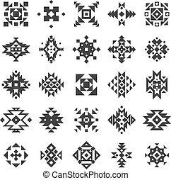Ethnic Geometric Elements Set - Ethnic or tribal style black...
