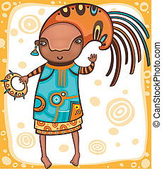 Ethnic girl 1. - Colorful portrait of the dancing African ...