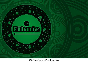 Ethnic green background for your design. Vector