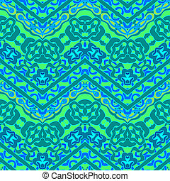 Ethnic hand drawn pattern with zigzag lines - Colorful...