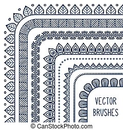 Ethnic hand drawn vector line border set and hipster...