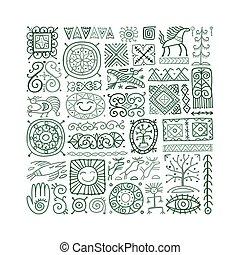 Ethnic handmade ornament, Folk Nordic Symbols. Art background for your design