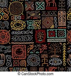 Ethnic handmade ornament, Folk Nordic Symbols. Seamless pattern for your design