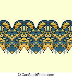 Ethnic horizontal seamless pattern. Indian ornament