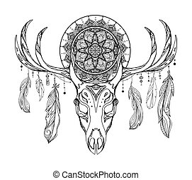 Ethnic illustration of a deer skull with a tracery dream catcher and feathers. Mystic Totem. Black and white vector picture