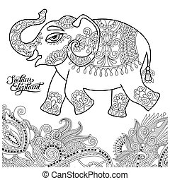 ethnic indian elephant line original drawing, adults ...