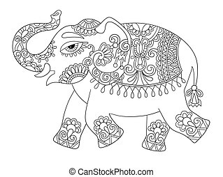 ethnic indian elephant line original drawing, adults...