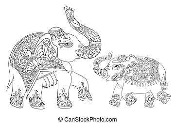 ethnic indian elephant line original drawing, adults...