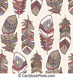 vector seamless ethnic Indian feathers plumage pattern