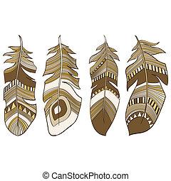 Ethnic Indian feathers plumage - vector seamless ethnic...
