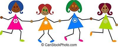 ethnic kids - happy little ethnic girls holding hands - kids...