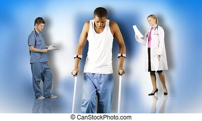 Ethnic man with crutches and doctors