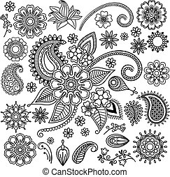 Ethnic Mehndi Flowers Elements - Ethnic Mehndi Tattoo Doodle...