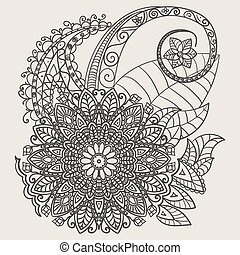 Ethnic Mehndi Tattoo Doodle Henna Paisley Flowers Elements
