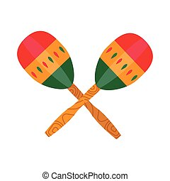Ethnic Mexican Maraca Music Instrument in Flat - Maraca, ...
