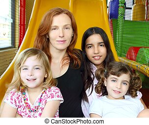 ethnic mixed family mother and daughters indian caucasian...