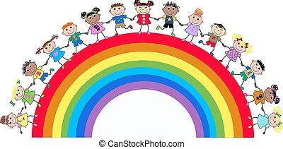 ethnic mixed kids on a rainbow