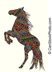 Ethnic motifs patterned  bucking horse