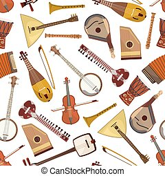 Ethnic musical instrument seamless pattern