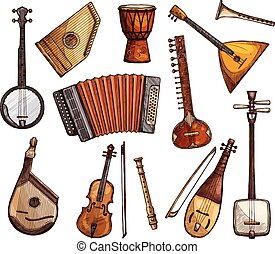 Ethnic musical instruments sketches set - Ethnic musical...