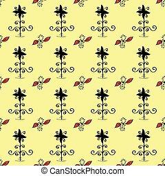 Ethnic ornament seamless retro flowers pattern