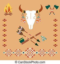Ethnic ornament with bull skull and arrows - Vector Ethnic...