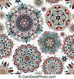 Ethnic pattern in pastel color with stylized flowers, leaves...