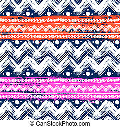 Ethnic pattern painted with zigzag brushstrokes - Vector...