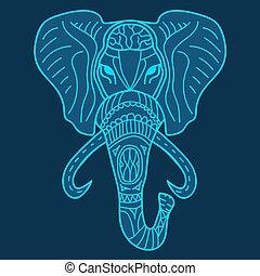 Ethnic patterned head of elephant blue