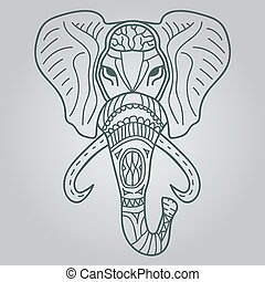 Ethnic patterned head of elephant