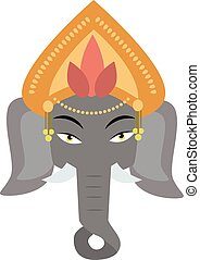 Ethnic patterned head of indian elephant on the grange background african totem tattoo design vector illustration.